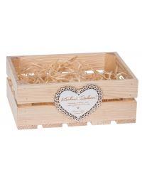 Skrzynka drewniana z białym sercem podziękowania dla rodziców