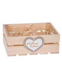 Skrzynka drewniana z białym sercem dla mamy