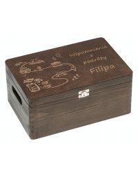 Kufer na pamiątki z podróży, 30x20, kolor brąz, grawer