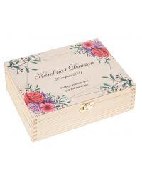 Prezent na Ślub wesele pudełko drewniane życzenia 22x16 nadruk