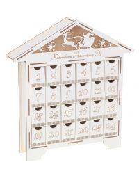 Kalendarz adwentowy drewniany Domek na Święta biały grawer