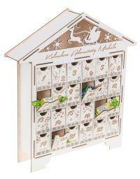 Kalendarz Adwentowy dla dzieci Domek na Święta kolor biały grawer