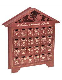 Kalendarz Adwentowy drewniany na święta prezent kolor mahoń grawer