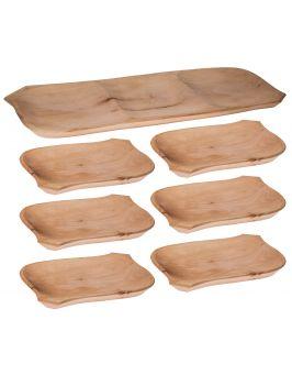 Koryto drewniane + 6 talerzyków