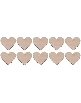 Drewniane serce 4x4cm 10 szt.