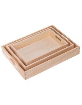 Taca drewniana sosnowa kpl. 3szt.