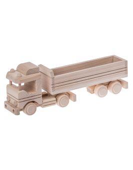 Ciężarówka z naczepą drewniana zabawka