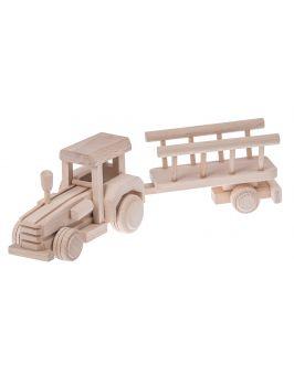Traktor z wozem drewniana zabawka