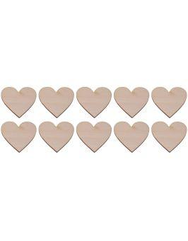 Drewniane serce 1x1cm 10 szt.