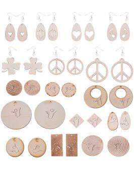 Kolczyki drewniane okrągłe 3,5cm-2