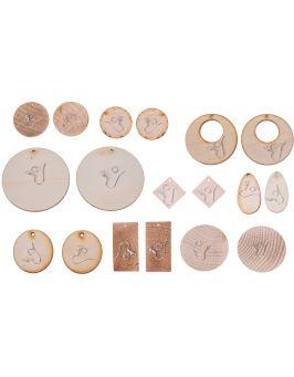 Kolczyki drewniane prostokątne 5,0 x 2,5cm