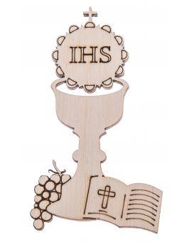 Drewniany kielich IHS z Hostią