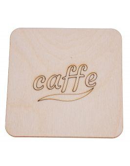 Podkładka pod kubek z grawerem CAFFE kwadrat 10x10 cm