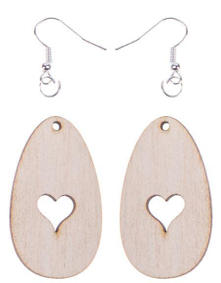 Kolczyki owalne 4,5x2,5 cm z sercem małym