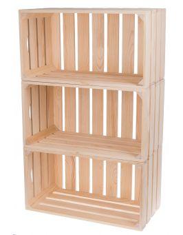 Skrzynka drewniana 50x27x25,5 cm - 3 sztuki