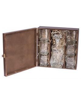 Pudełko na karafkę i 6 szklanek Carmen X - ciemny brąz