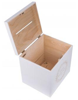 BIAŁA Drewniana skrzynia pudełko na koperty ślubne 25x29x30 cm