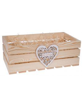 Skrzynka drewniana 50x27x18 cm z sercem GRAWER