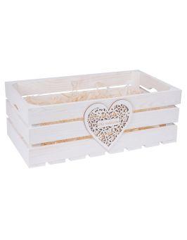 Biała skrzynka drewniana 50x27x18 cm z sercem GRAWER
