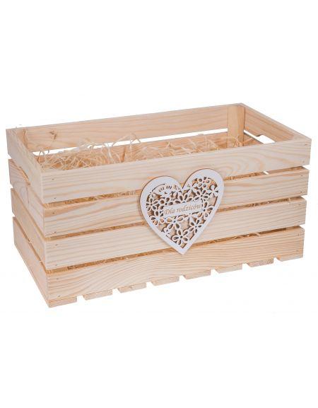Skrzynka drewniana 50x27x25,5 cm z sercem GRAWER