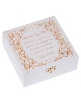 Białe pudełko na CHRZEST z grawerem