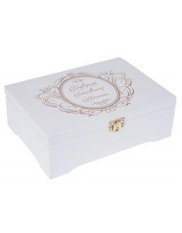 Białe pudełko, szkatułka CHOCO II z grawerem