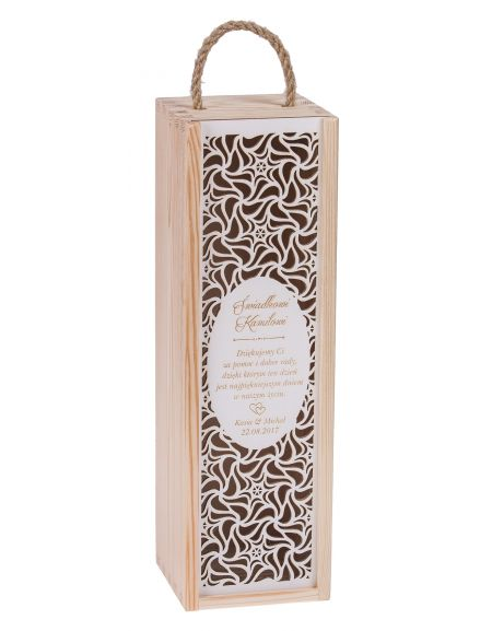 Pudełko na wino CARMEN PREMIUM + biała zasuwka