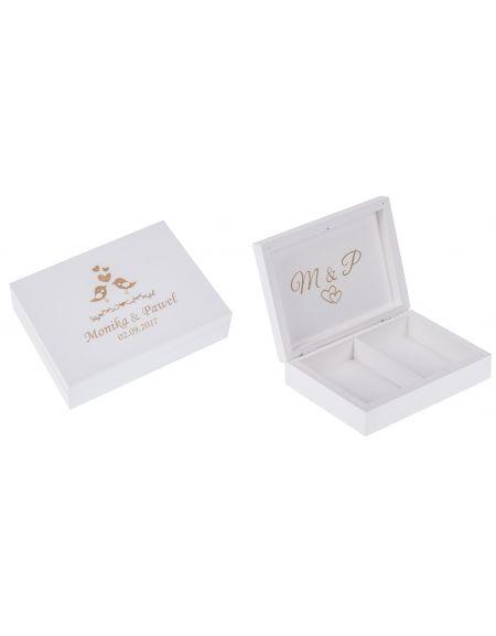 Białe pudełko na obrączki - DWUSTRONNY GRAWER