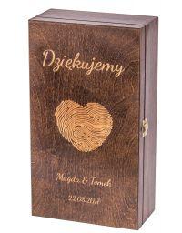 Pudełko na dwa wina Carmen V z grawerem - ciemny brąz
