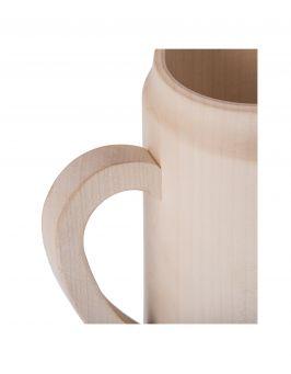 Drewniany kufel, kubek z rączką biały