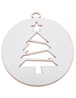 Zawieszka świąteczna biała - Bombka z choinką B2