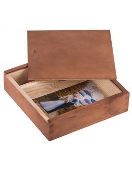 Drewniane pudełko na zdjęcia 10x15 i pendrive ORZECH