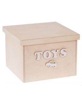 Pudełko na zabawki z białymi napisami DUŻE