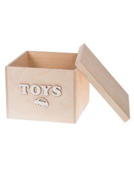 Pudełko na zabawki z białym napisem MAŁE