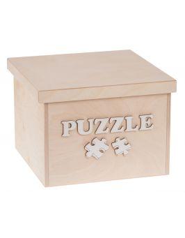 Pudełko na zabawki z białym napisem PUZZLE duże