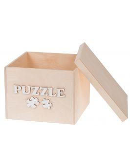 Pudełko na zabawki z białym napisem PUZZLE małe
