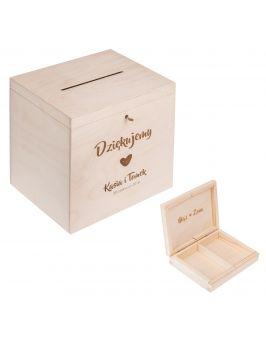 Kopertówka + pudełko na obrączki z grawerem
