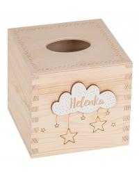 Pudełko drewniane na chusteczki kwadratowe + GRAWER