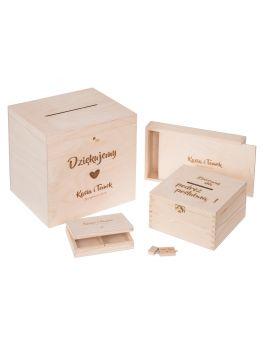 Zestaw pudełek na ślub z grawerem