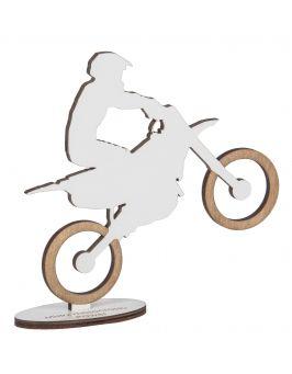 Drewniana statuetka z grawerem - MOTOCROSS
