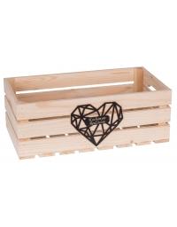 Drewniana skrzynka z czarnym, diamnetowym sercem + grawer