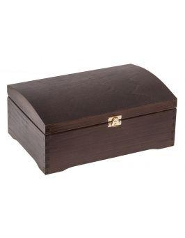 Kufer sosnowy z zapięciem ciemny brąz