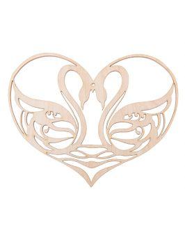 Drewniane serce z łabędziami