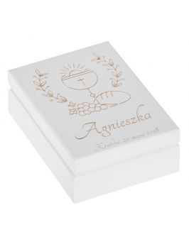 Białe pudełko na różaniec z grawerem