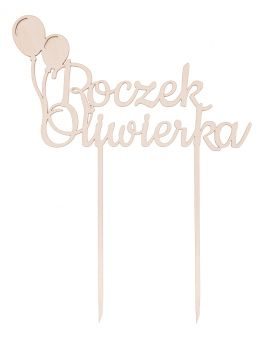 """Topper """"Roczek + imię"""" z balonami"""