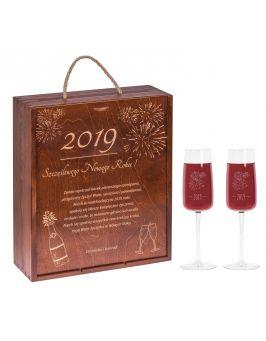 Skrzynka + lampki na szampana z grawerem