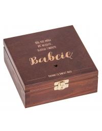 Drewniane Pudełko 16x16, kolor orzech z grawerem dla babci
