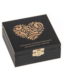 Pudełko 12x12cm czarne z grawerem