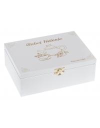 Drewniena pudełko na herbatę 6, kolor biały z grawerem