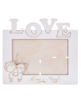 Biała ramka na zdjęcie LOVE